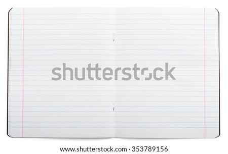 Open notebook on isolated white background, closeup - stock photo