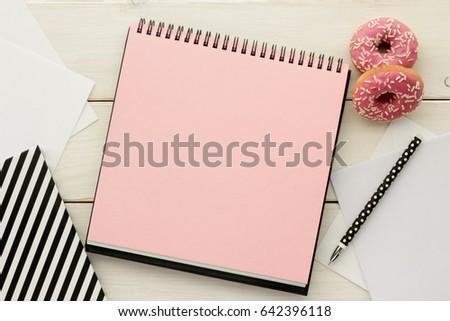 Open Notebook Sketchbook Scrapbook Pink Blank Stock Photo Royalty