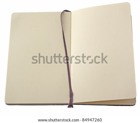 Open notebook with bookmark isolated over white - stock photo