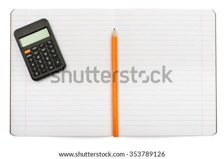 Open notebook with calculator on isolated white background, closeup