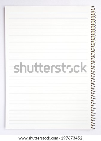 Open notebook with striped on white background