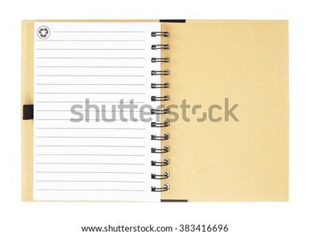 Open notebook with white lined pages isolated on white background. - stock photo