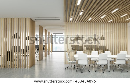 Open office interior with wooden partitions, New York city view and meeting  area. 3D