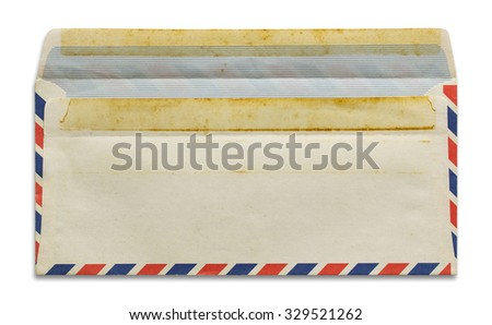 open old airmail envelope isolated on white background - stock photo