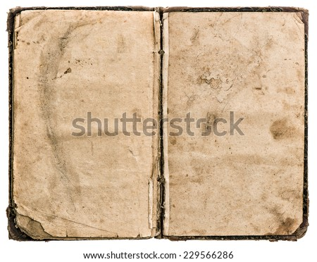 open old book isolated on white background. grungy worn paper texture - stock photo