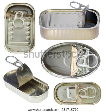open old empty cans - empty tin cans - stock photo