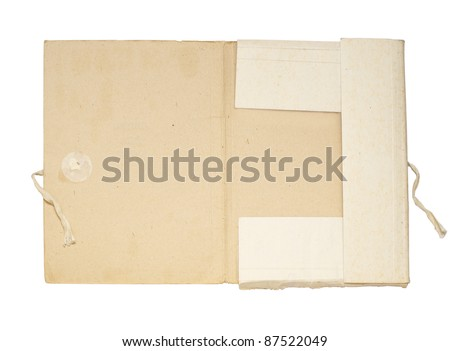 Open old folder for papers fastened by a band - stock photo