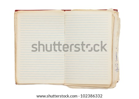 open old notebook isolated on white - stock photo