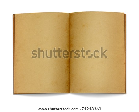 Open old paper and book on white background.