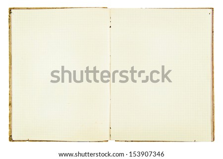 open old squared exercise book on white background - stock photo