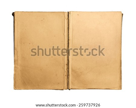 Open old vintage book on white background - stock photo