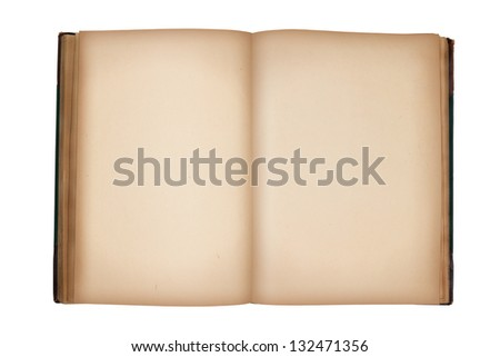 open old vintage book with blank pages isolated on white - stock photo