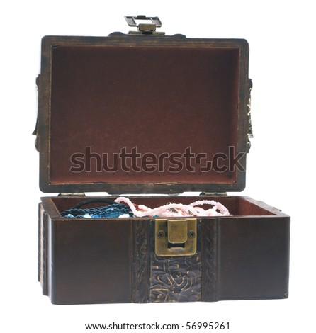 Open old wooden casket, on a white background.