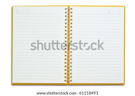 Open Orange notebook for text and background - stock photo