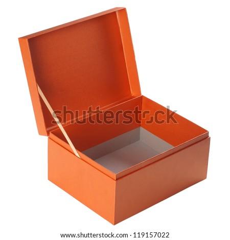 Open orange paper box isolated on white - stock photo