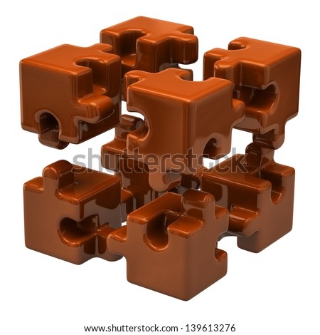 Open orange puzzle cube - stock photo
