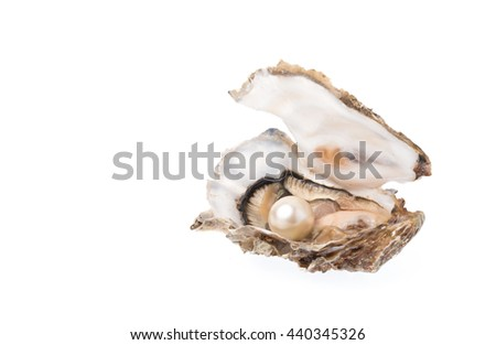 Open oyster with pearl isolated on white background - stock photo