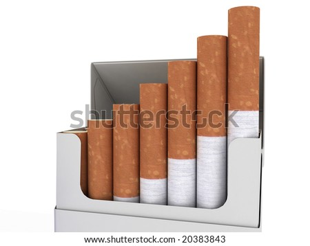 Open pack of cigarettes isolated on white background