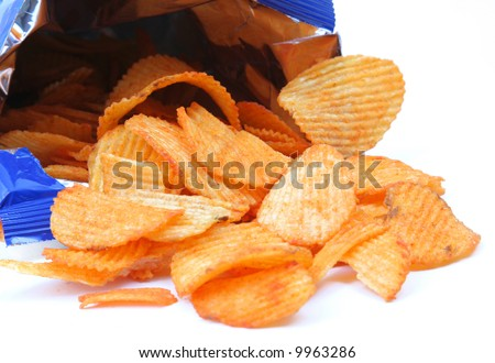 open packet of crisps on white background - stock photo