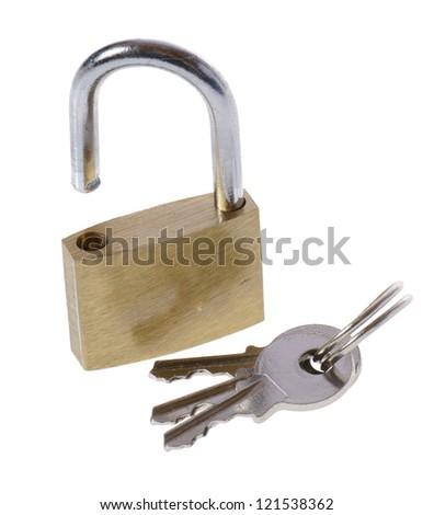 Open padlock and keys isolated on white - stock photo
