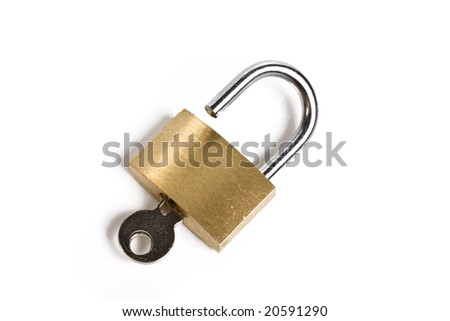 Open padlock with inserted key isolated on white