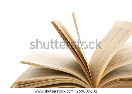 open pages of the book on a white - stock photo