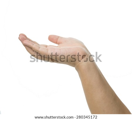 Open palm gesture. isolated on white background - stock photo