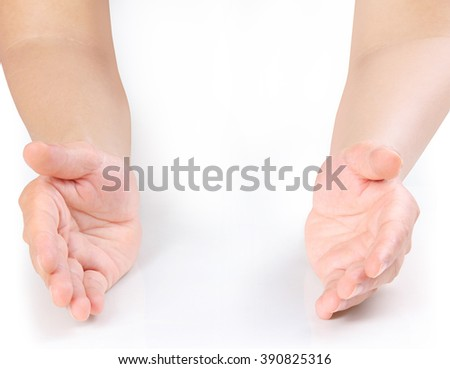 Open palm hand gesture of a hand - stock photo