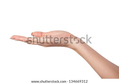 Open palm hand gesture of Female hand. Isolated on a  white background. - stock photo