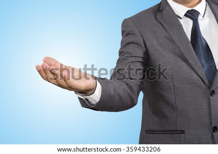 Open palm hand gesture of male hand isolated on white background - stock photo