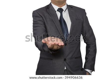 Open palm hand gesture of male hand isolated on white background