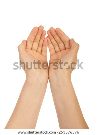 Open palm of the person, give, take, isolated on white background - stock photo