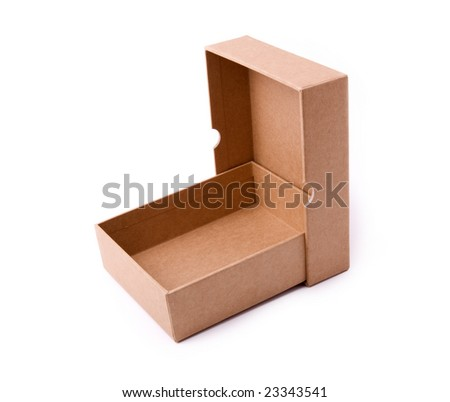 open paper box on a white background - stock photo