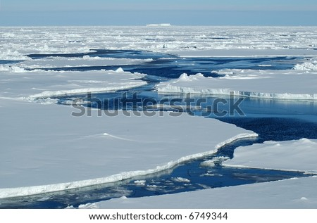 Open passage in pack ice - stock photo