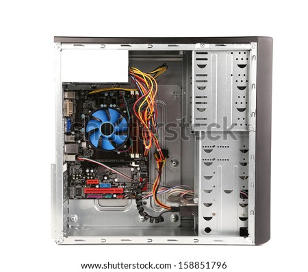 Open PC computer case. Isolated on a white background - stock photo