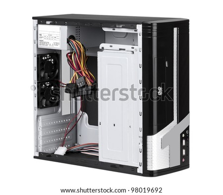 Open PC computer case to install your hardware and accessories isolated on white