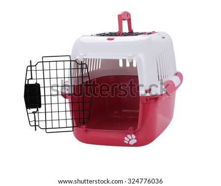 open pet carrier isolated on white background. This has clipping path. - stock photo