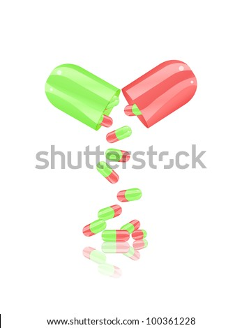 open pill capsule isolated on white background. Illustration