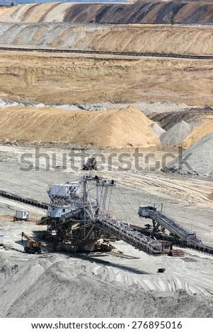 open pit coal mine excavator - stock photo
