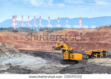 open pit lignite mine at mae-moe Lam-pang  Thailand - stock photo