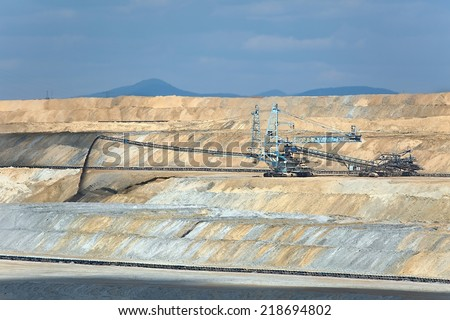 Open pit mining of coal - stock photo