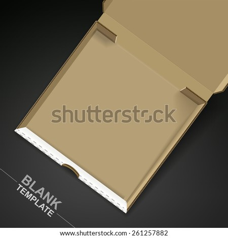 open pizza box template isolated on black background - stock photo