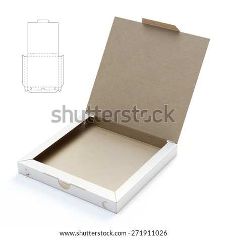 Open Pizza Box with Die Cut Template - stock photo