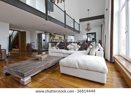 open plan living room of a luxury duplex apartment - stock photo