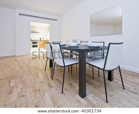 open plan living room with a detail of a diner setup - stock photo