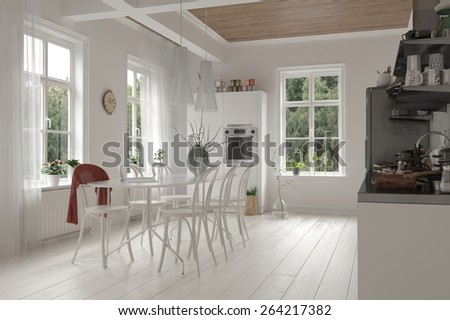 Open-plan spacious white kitchen and dining room interior in a loft with ceiling beams, bright windows and monochromatic white cabinets, table and chairs and wooden floor. 3d Rendering - stock photo