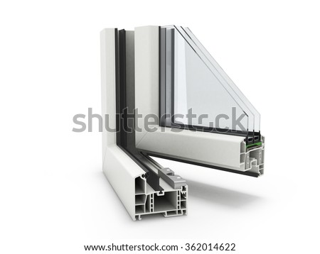 Open Plastic Window profile isolated close up - stock photo