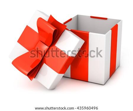 Open present box 3D render - stock photo