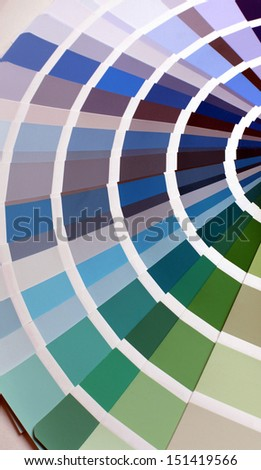 open RAL pantone sample colors catalogue with blue, grey and green tones - stock photo