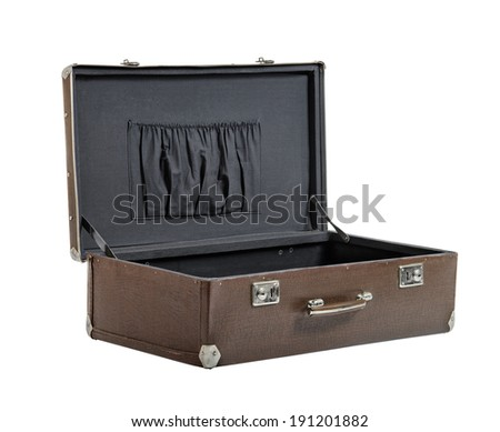 open rarity brown leather suitcase, on white background; isolated - stock photo